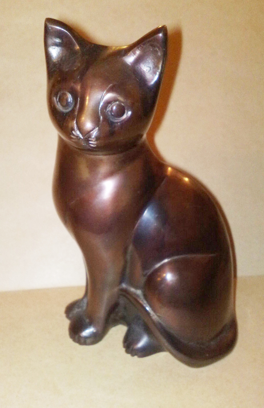 Cat - left facing Bronze Finished Tiller Pin